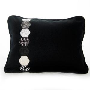 Black Hexagon Pillow Front