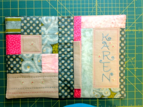 Finished Notebook cover - open to show front and back