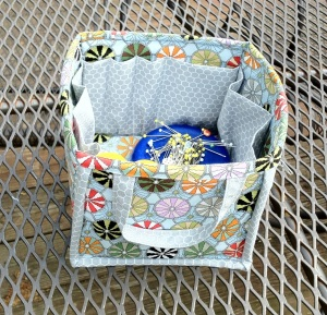 Sewing caddy side view.