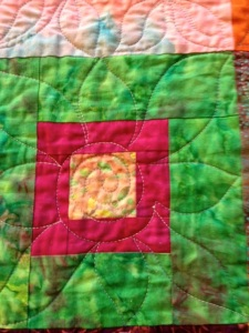 "Quilting on 8"" block"