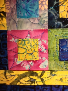 "Quilting on 2"" block"