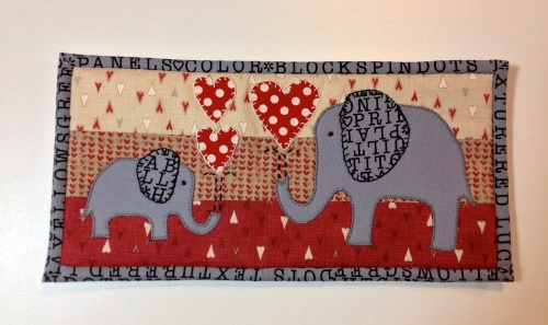 Mug Rug for daughter M who loves elephants.