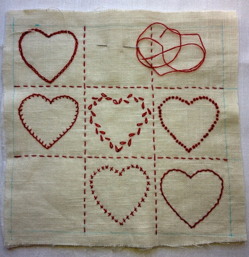 Embroidered hearts.