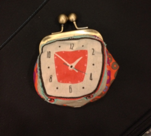 Clock coin purse by Diane Stanley
