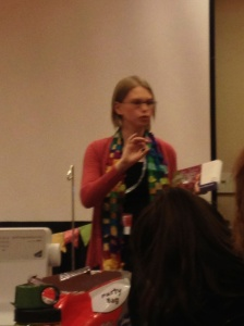 Leah Day speaking at Sew South