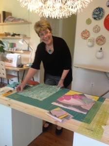 Here I am cutting out my fabric.