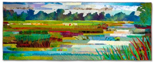 "Marsh #17 - River 2006- 17""x 44""  dye and paint on silk and cotton, found fabrics, fused, machine quilted"