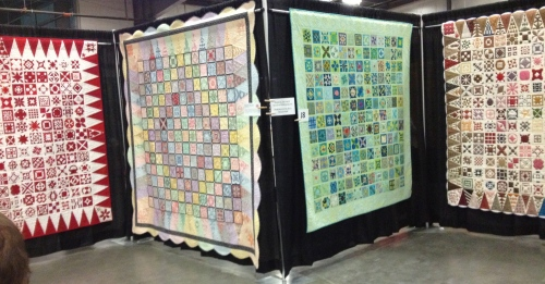 4 of the Dear Jane quilts at the Vermont Quilt Festival