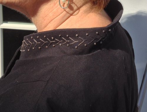 Embroidery on finished collar