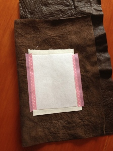 Interfaced fabric put right side to wrong side of leather.