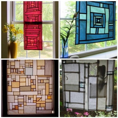 1. Pojagi Panel #2, 2. Pojagi Panel #3, 3. Pojagi-Inspired Window Panel, 4. Patchwork/ Pojagi