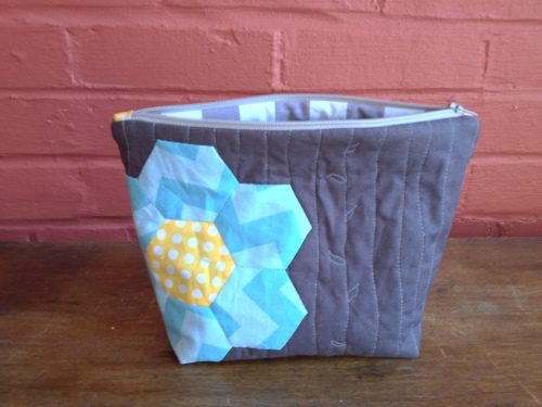 Hexagon pouch made with Riley Blake Fabric