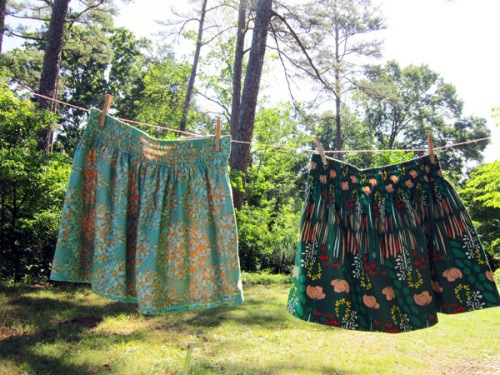 Rachel's skirts from Stitched in Color. Voile on the left. Quilting cotton on the right.