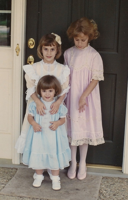 My three daughters wearing Easter dresses I made them.