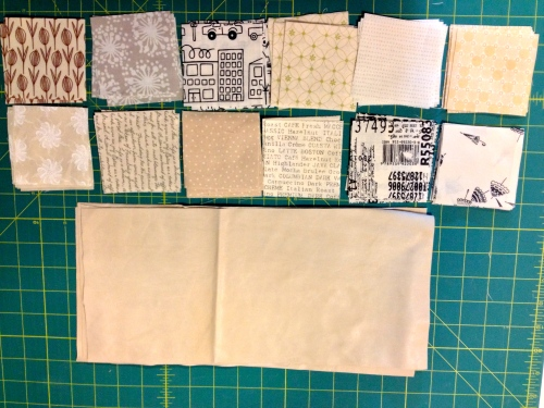 Low volume fabric squares for the top and leather for the bottom