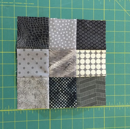 Sew a nine patch block together