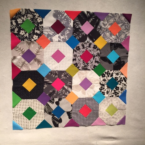 "My finished pillow top. 22"" square. Each block is 5.5"""