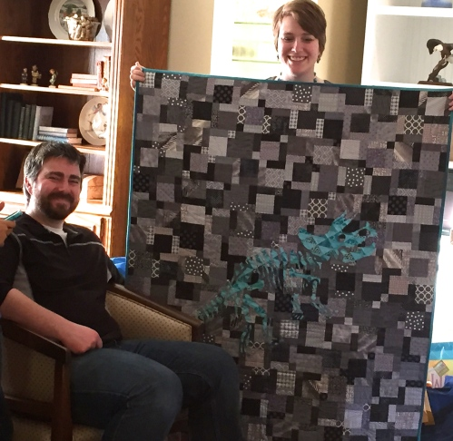 My dinosaur quilt and the soon to be parents.