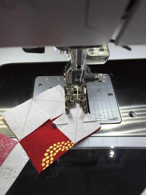 I sewed across all 3 corners without removing from the machine - just pivoted.